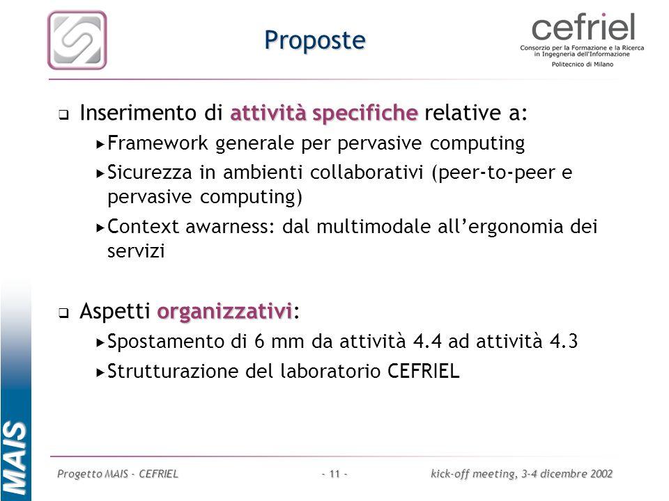 MAIS Progetto MAIS - CEFRIELkick-off meeting, 3-4 dicembre 2002- 11 - Proposte attività specifiche Inserimento di attività specifiche relative a: Fram