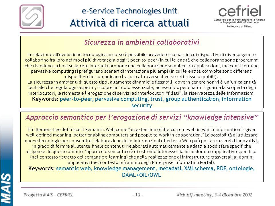 MAIS Progetto MAIS - CEFRIELkick-off meeting, 3-4 dicembre 2002- 13 - e-Service Technologies Unit Attività di ricerca attuali Approccio semantico per