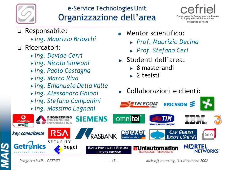 MAIS Progetto MAIS - CEFRIELkick-off meeting, 3-4 dicembre 2002- 17 - e-Service Technologies Unit Organizzazione dellarea Responsabile: ing. Maurizio