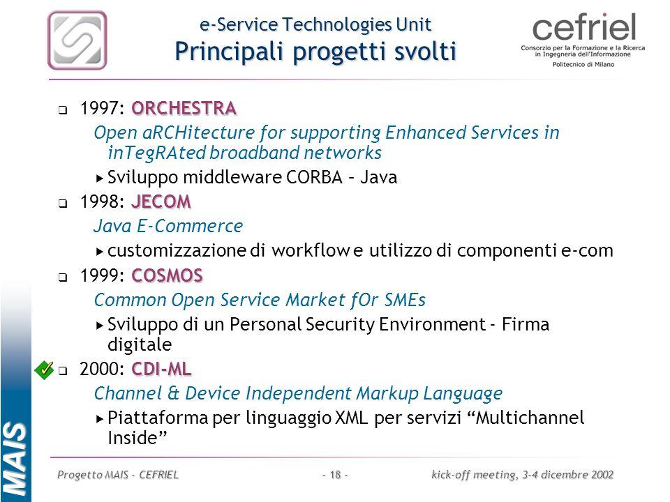 MAIS Progetto MAIS - CEFRIELkick-off meeting, 3-4 dicembre 2002- 18 - e-Service Technologies Unit Principali progetti svolti ORCHESTRA 1997: ORCHESTRA