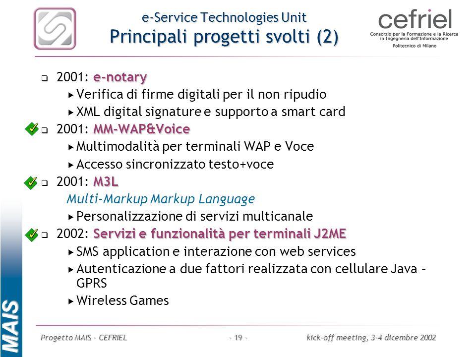 MAIS Progetto MAIS - CEFRIELkick-off meeting, 3-4 dicembre 2002- 19 - e-Service Technologies Unit Principali progetti svolti (2) e-notary 2001: e-nota