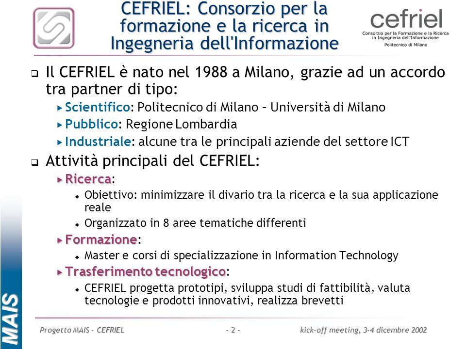 MAIS Progetto MAIS - CEFRIELkick-off meeting, 3-4 dicembre 2002- 3 - Missione del CEFRIEL Consulenza Formazione avanzata e permanente Favorire la cooperazione e il trasferimento tecnologico tra università e imprese ricerca