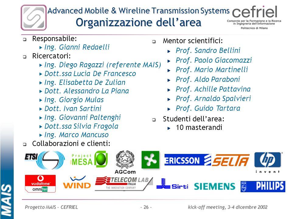 MAIS Progetto MAIS - CEFRIELkick-off meeting, 3-4 dicembre 2002- 26 - Advanced Mobile & Wireline Transmission Systems Organizzazione dellarea Responsa