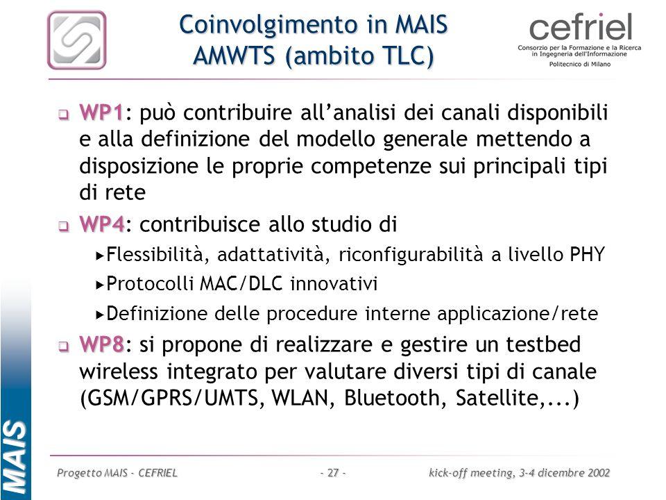 MAIS Progetto MAIS - CEFRIELkick-off meeting, 3-4 dicembre 2002- 27 - Coinvolgimento in MAIS AMWTS (ambito TLC) WP1 WP1: può contribuire allanalisi de