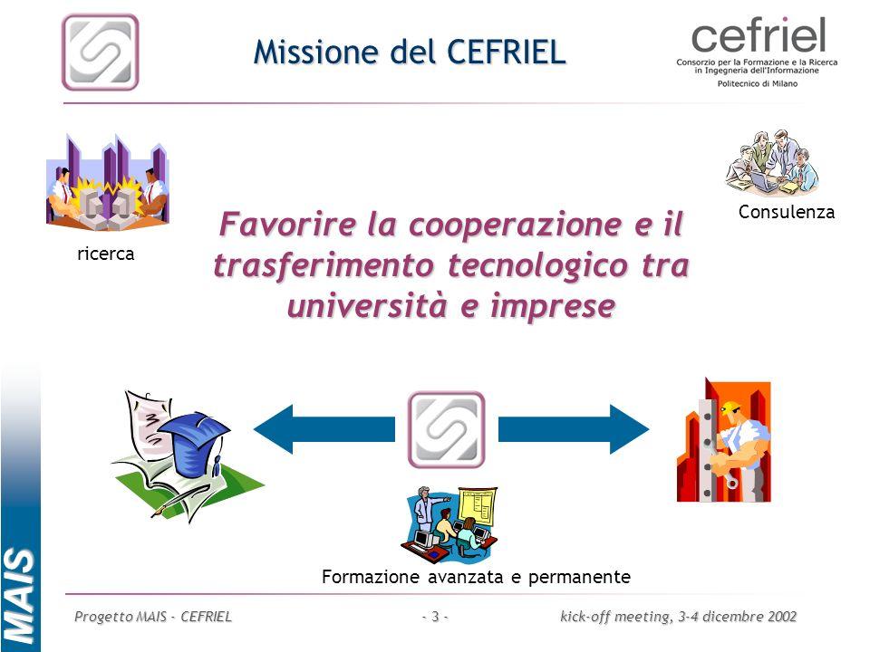 MAIS Progetto MAIS - CEFRIELkick-off meeting, 3-4 dicembre 2002- 3 - Missione del CEFRIEL Consulenza Formazione avanzata e permanente Favorire la coop