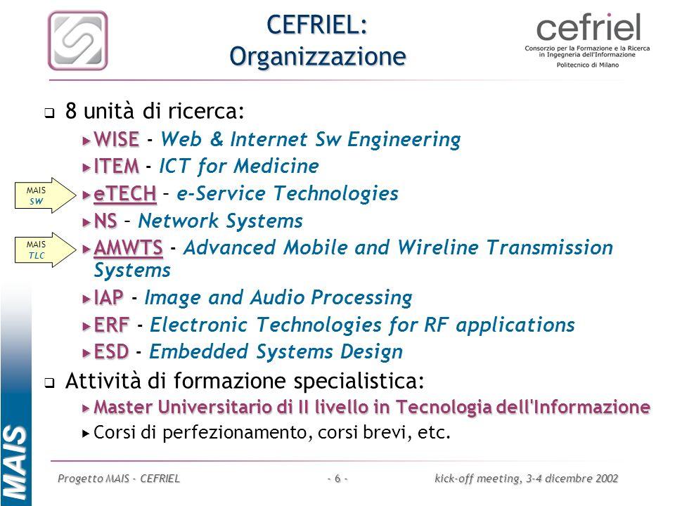 MAIS Progetto MAIS - CEFRIELkick-off meeting, 3-4 dicembre 2002- 6 - CEFRIEL: Organizzazione 8 unità di ricerca: WISE WISE - Web & Internet Sw Enginee