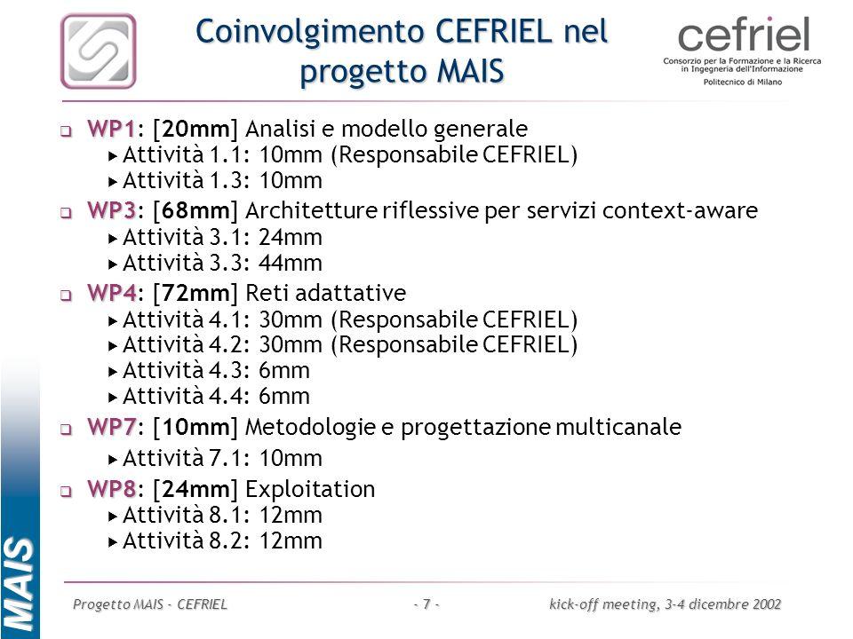 MAIS Progetto MAIS - CEFRIELkick-off meeting, 3-4 dicembre 2002- 7 - Coinvolgimento CEFRIEL nel progetto MAIS WP1 WP1: [20mm] Analisi e modello genera