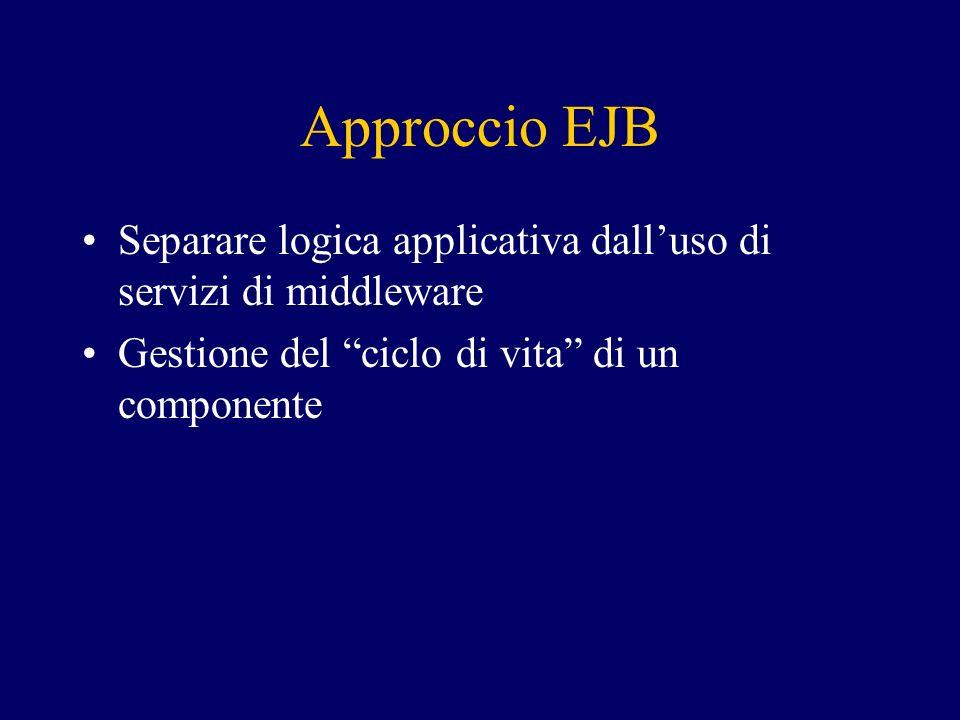 Approccio EJB Separare logica applicativa dalluso di servizi di middleware Gestione del ciclo di vita di un componente