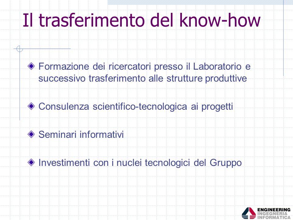 Il trasferimento del know-how Formazione dei ricercatori presso il Laboratorio e successivo trasferimento alle strutture produttive Consulenza scienti