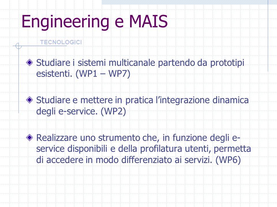 Engineering e MAIS Studiare i sistemi multicanale partendo da prototipi esistenti. (WP1 – WP7) Studiare e mettere in pratica lintegrazione dinamica de