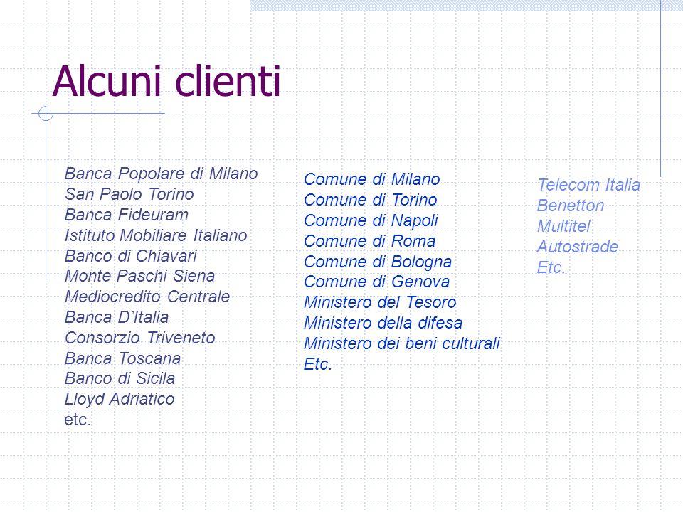 Alcuni clienti Banca Popolare di Milano San Paolo Torino Banca Fideuram Istituto Mobiliare Italiano Banco di Chiavari Monte Paschi Siena Mediocredito