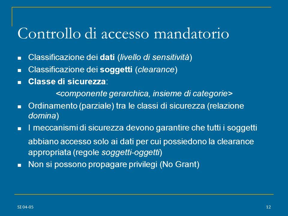 SI 04-0511 Controllo di accesso mandatorio Per basi di dati con dati sensitivi (es., governative, militari) DAC non è sufficiente (per esempio, non si