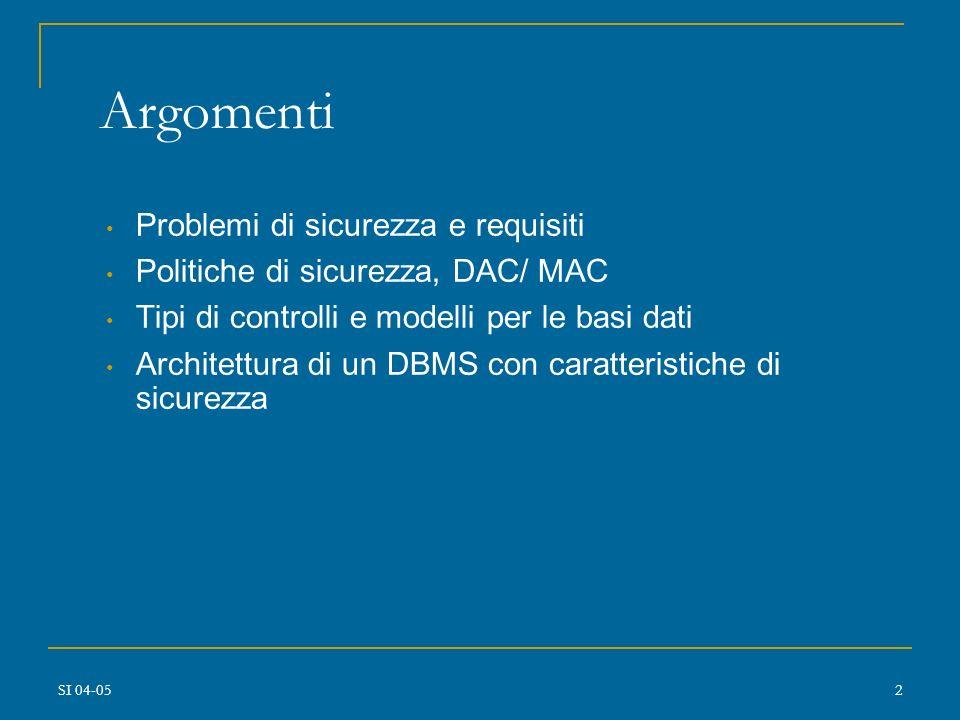 SI 04-051 Sicurezza della Base di Dati Mariagrazia Fugini Barbara Pernici Politecnico di Milano Sistemi Informativi 2004-2005