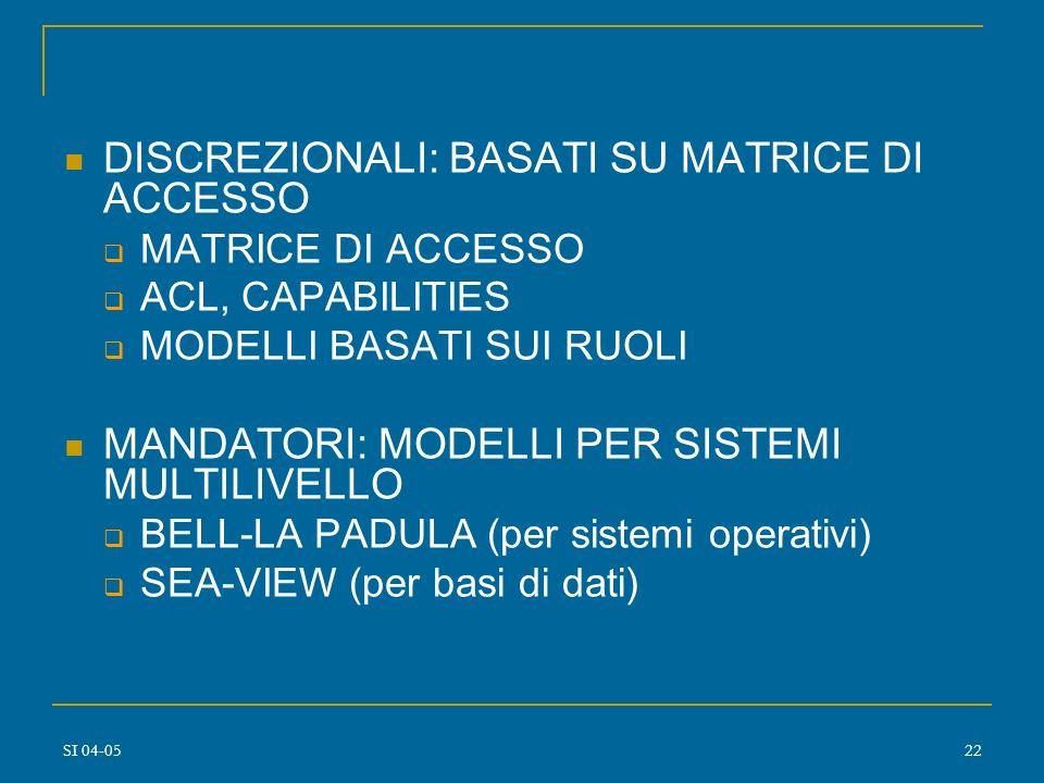 SI 04-0521 Modelli di sicurezza per i dati Modelli discrezionali propagazione privilegi ownership (grant/revoke) Modelli mandatori soggetti oggetti cl