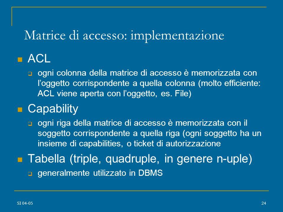SI 04-0523 Modello a matrice di accesso Basato su Matrice A[s,o] = p con s soggetto (programma, processo,utente) o oggetto (programma,file,area di mem