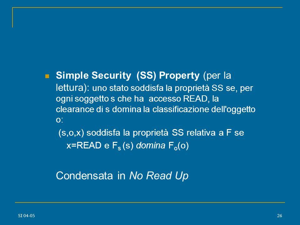 SI 04-0525 Classe di sistemi : contenenti dati a diversi livelli di sensitività che permette l'accesso contemporaneo ai dati da parte di utenti con di