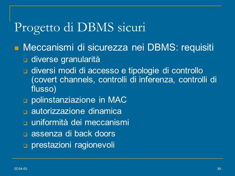 SI 04-0529 Progetto di DBMS sicuri DBMS vs. SO granularità oggetti protetti correlazioni semantiche dei dati metadati molteplicità di tipi di dati ogg