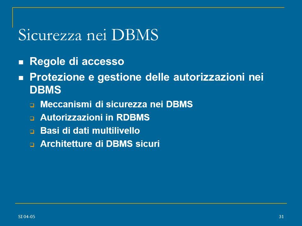 SI 04-0530 Progetto di DBMS sicuri Meccanismi di sicurezza nei DBMS: requisiti diverse granularità diversi modi di accesso e tipologie di controllo (c