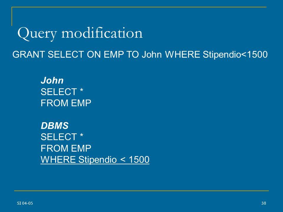 SI 04-0537 Regole e Autorizzazioni In RDBMS GRANT INSERT, SELECT ON EMP TO John Viste: EMP(Codice,Nome,Codice_Reparto,Mansione,Qualifica) CREATE VIEW