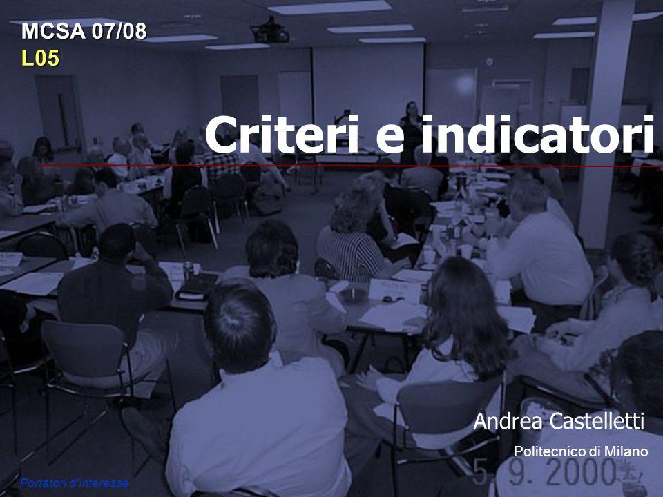 Criteri e indicatori Andrea Castelletti Politecnico di Milano MCSA 07/08 L05 Portatori dinteresse