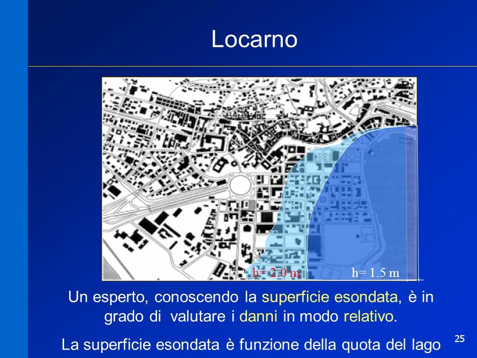 25 Locarno h= 2.0 m h= 1.5 m Un esperto, conoscendo la superficie esondata, è in grado di valutare i danni in modo relativo. La superficie esondata è