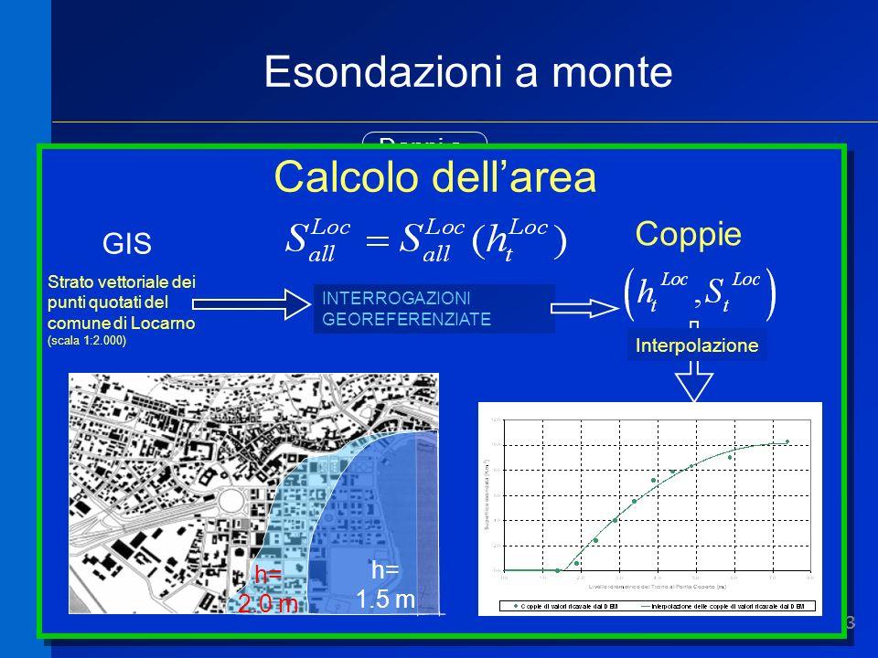 33 Esondazioni a monte Massima area [kmq] allagata nel comune X Area media [kmq/anno] annualmente allagata nel comune X Danni a strutture Condizioni medie Evento peggiore Come calcolare larea esondata.