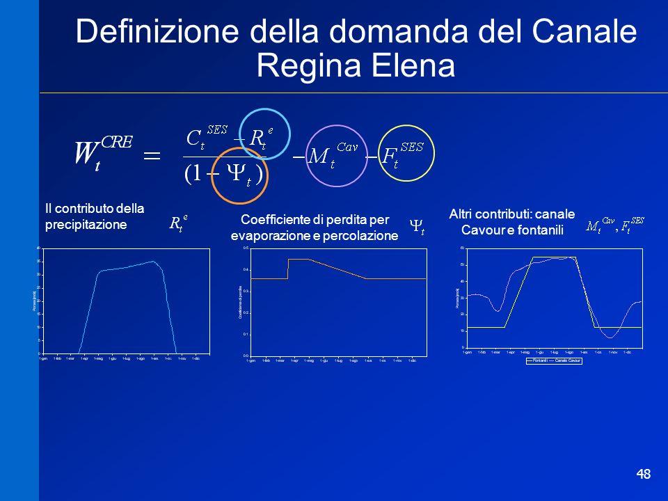 48 Coefficiente di perdita per evaporazione e percolazione Altri contributi: canale Cavour e fontanili Il contributo della precipitazione Definizione della domanda del Canale Regina Elena