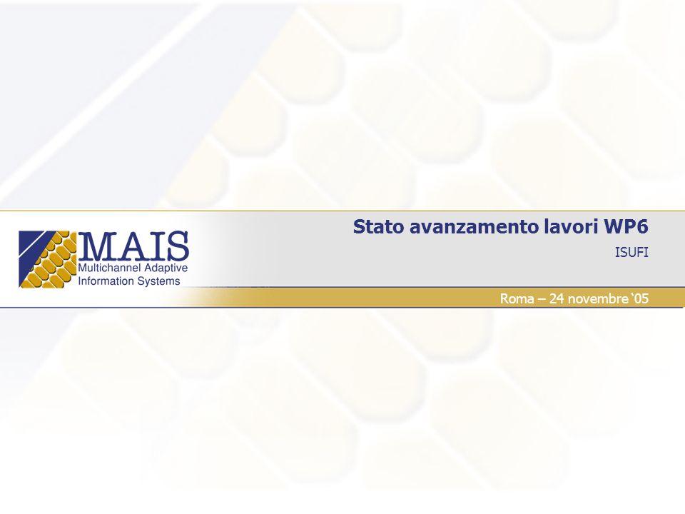 ISUFI Stato avanzamento lavori WP6 Roma – 24 novembre 05