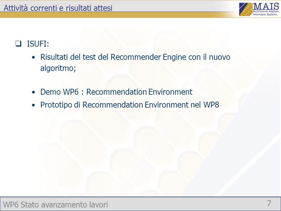 WP6 Stato avanzamento lavori 7 Attività correnti e risultati attesi ISUFI: Risultati del test del Recommender Engine con il nuovo algoritmo; Demo WP6 : Recommendation Environment Prototipo di Recommendation Environment nel WP8