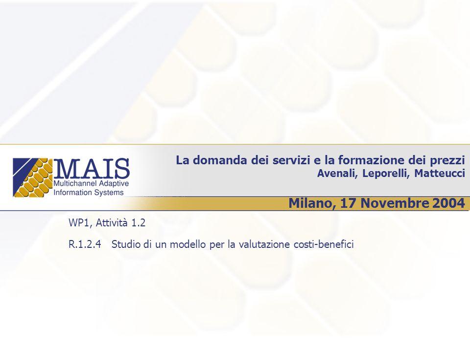La domanda dei servizi e la formazione dei prezzi Avenali, Leporelli, Matteucci Milano, 17 Novembre 2004 WP1, Attività 1.2 R.1.2.4 Studio di un modello per la valutazione costi-benefici