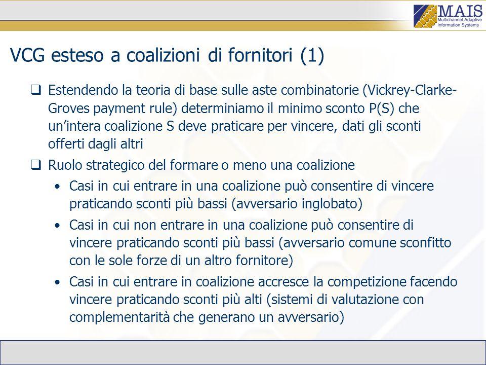 VCG esteso a coalizioni di fornitori (1) Estendendo la teoria di base sulle aste combinatorie (Vickrey-Clarke- Groves payment rule) determiniamo il minimo sconto P(S) che unintera coalizione S deve praticare per vincere, dati gli sconti offerti dagli altri Ruolo strategico del formare o meno una coalizione Casi in cui entrare in una coalizione può consentire di vincere praticando sconti più bassi (avversario inglobato) Casi in cui non entrare in una coalizione può consentire di vincere praticando sconti più bassi (avversario comune sconfitto con le sole forze di un altro fornitore) Casi in cui entrare in coalizione accresce la competizione facendo vincere praticando sconti più alti (sistemi di valutazione con complementarità che generano un avversario)