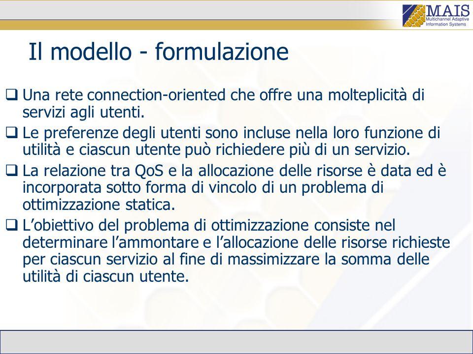 Il modello - formulazione Una rete connection-oriented che offre una molteplicità di servizi agli utenti.
