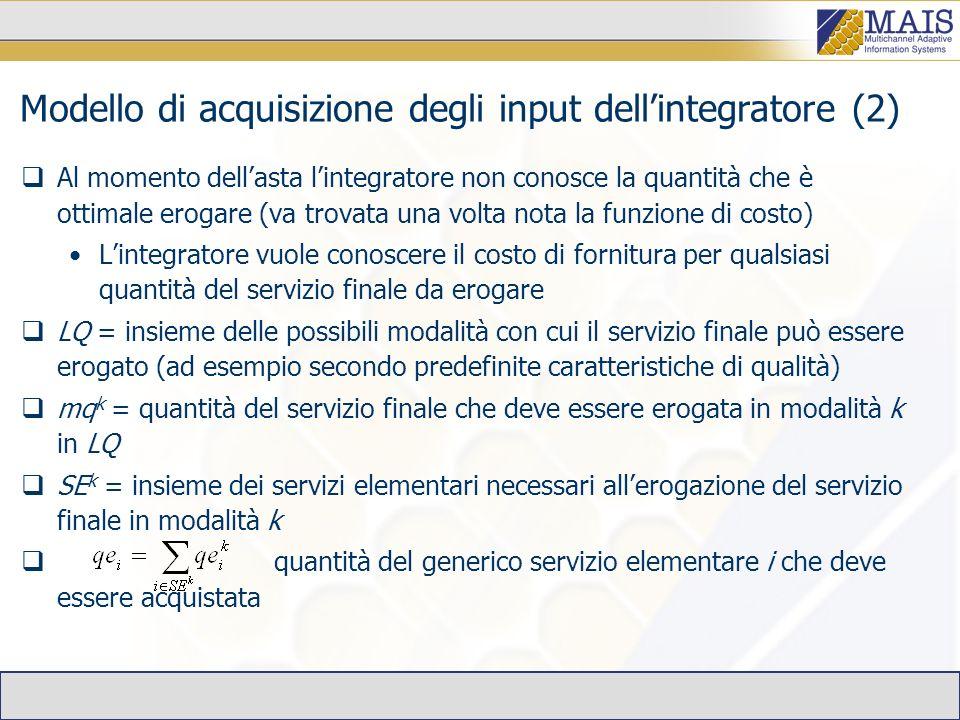 Modello di acquisizione degli input dellintegratore (2) Al momento dellasta lintegratore non conosce la quantità che è ottimale erogare (va trovata una volta nota la funzione di costo) Lintegratore vuole conoscere il costo di fornitura per qualsiasi quantità del servizio finale da erogare LQ = insieme delle possibili modalità con cui il servizio finale può essere erogato (ad esempio secondo predefinite caratteristiche di qualità) mq k = quantità del servizio finale che deve essere erogata in modalità k in LQ SE k = insieme dei servizi elementari necessari allerogazione del servizio finale in modalità k quantità del generico servizio elementare i che deve essere acquistata