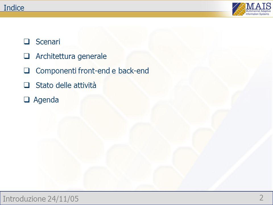 Introduzione 24/11/05 2 Indice Scenari Architettura generale Componenti front-end e back-end Stato delle attività Agenda