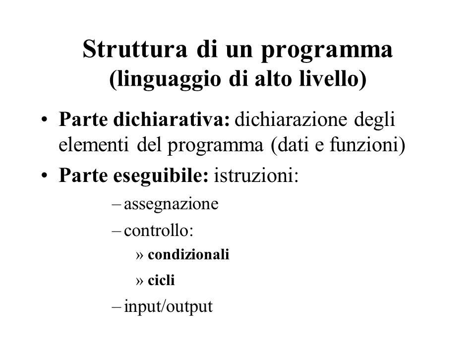 Struttura di un programma (linguaggio di alto livello) Parte dichiarativa: dichiarazione degli elementi del programma (dati e funzioni) Parte eseguibile: istruzioni: –assegnazione –controllo: »condizionali »cicli –input/output