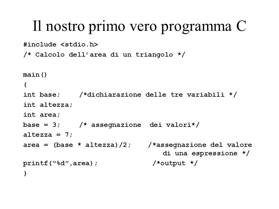 Il nostro primo vero programma C #include /* Calcolo dellarea di un triangolo */ main() { int base;/*dichiarazione delle tre variabili */ int altezza; int area; base = 3;/* assegnazione dei valori*/ altezza = 7; area = (base * altezza)/2; /*assegnazione del valore di una espressione */ printf(%d,area); /*output */ }