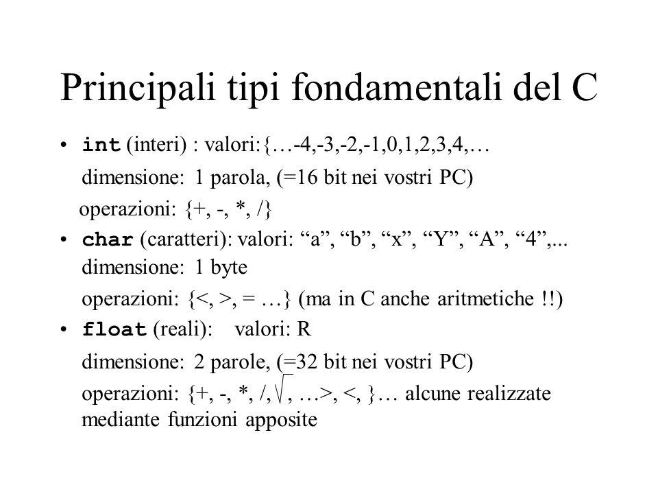 Principali tipi fondamentali del C int (interi) : valori:{…-4,-3,-2,-1,0,1,2,3,4,… dimensione: 1 parola, (=16 bit nei vostri PC) operazioni: {+, -, *, /} char (caratteri): valori: a, b, x, Y, A, 4,...