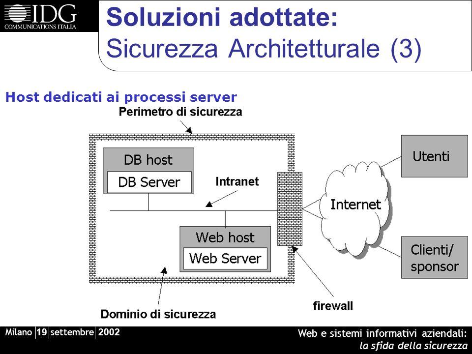 Milano 19 settembre 2002 Web e sistemi informativi aziendali: la sfida della sicurezza Soluzioni adottate: Sicurezza Architetturale (3) Host dedicati ai processi server