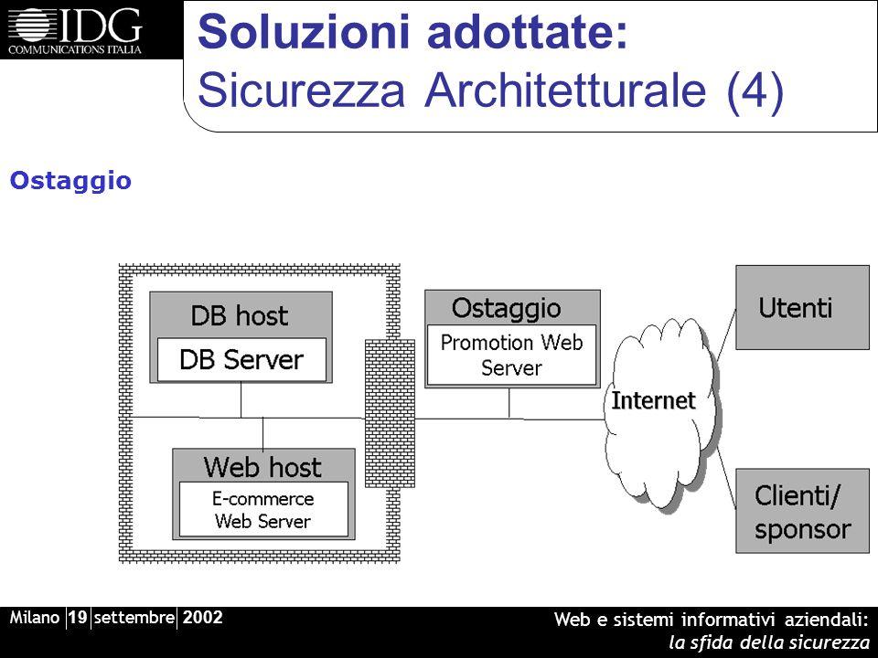 Milano 19 settembre 2002 Web e sistemi informativi aziendali: la sfida della sicurezza Soluzioni adottate: Sicurezza Architetturale (4) Ostaggio