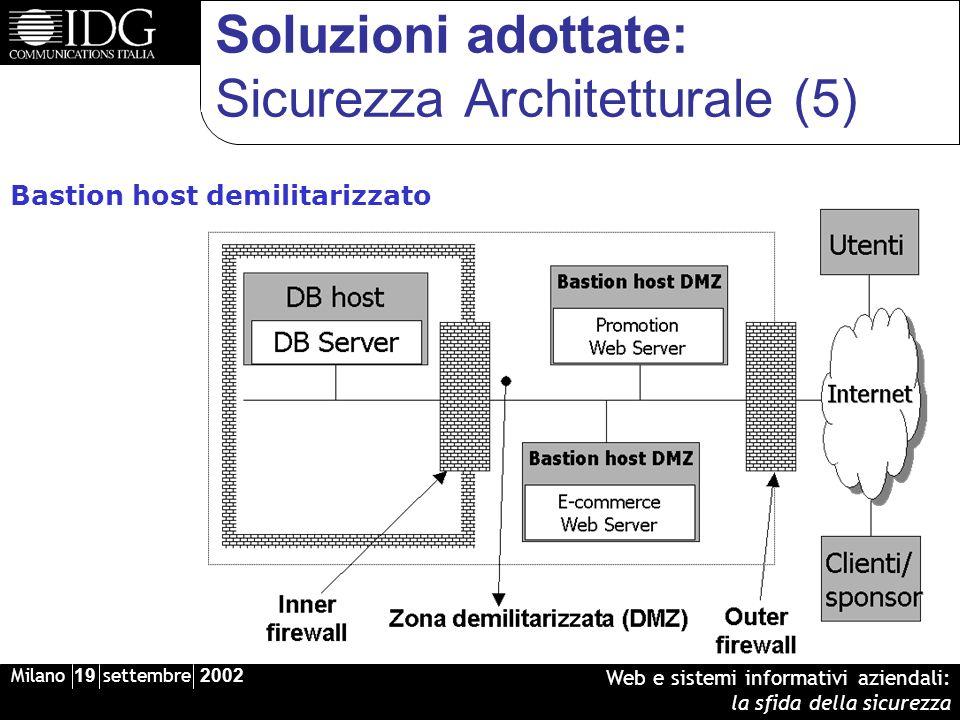 Milano 19 settembre 2002 Web e sistemi informativi aziendali: la sfida della sicurezza Soluzioni adottate: Sicurezza Architetturale (5) Bastion host demilitarizzato