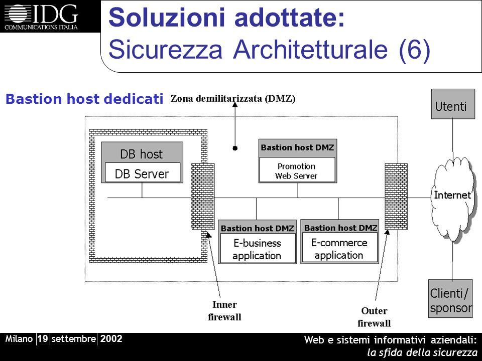 Milano 19 settembre 2002 Web e sistemi informativi aziendali: la sfida della sicurezza Soluzioni adottate: Sicurezza Architetturale (6) Bastion host dedicati