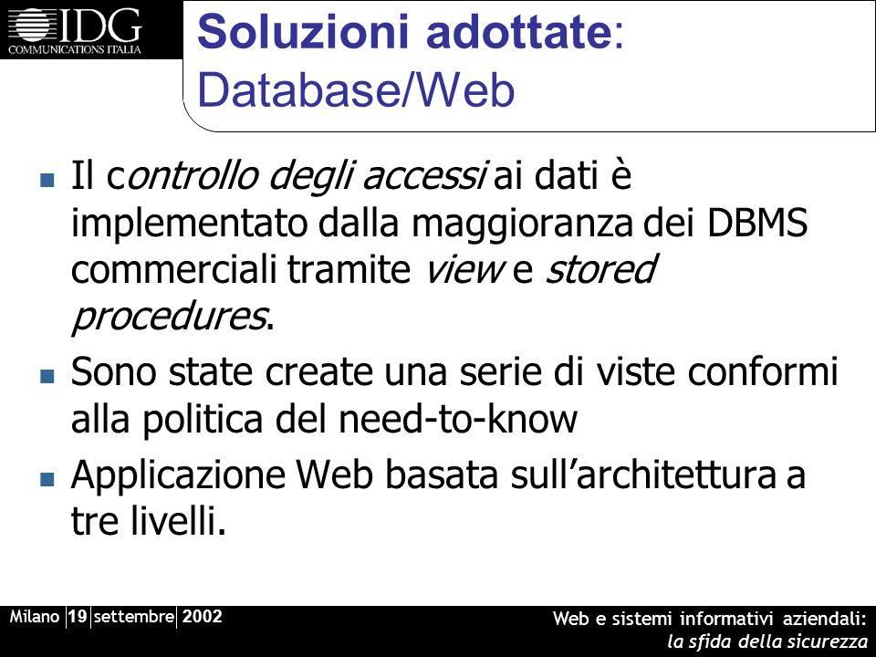 Milano 19 settembre 2002 Web e sistemi informativi aziendali: la sfida della sicurezza Soluzioni adottate: Database/Web Il controllo degli accessi ai dati è implementato dalla maggioranza dei DBMS commerciali tramite view e stored procedures.
