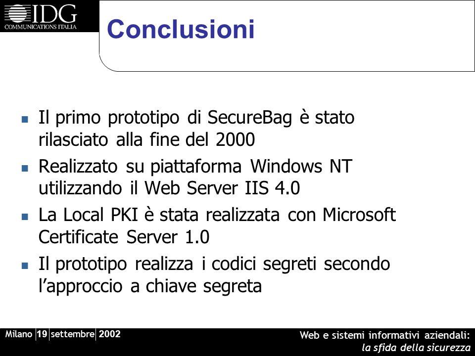 Milano 19 settembre 2002 Web e sistemi informativi aziendali: la sfida della sicurezza Conclusioni Il primo prototipo di SecureBag è stato rilasciato