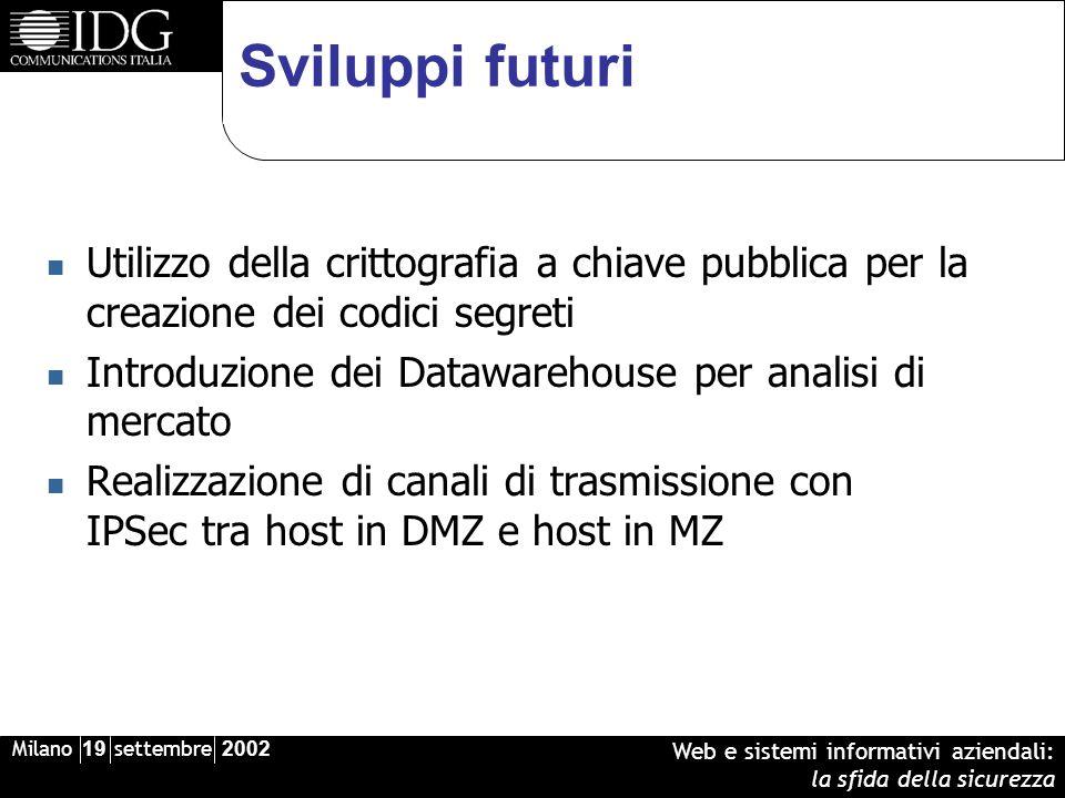 Milano 19 settembre 2002 Web e sistemi informativi aziendali: la sfida della sicurezza Sviluppi futuri Utilizzo della crittografia a chiave pubblica p