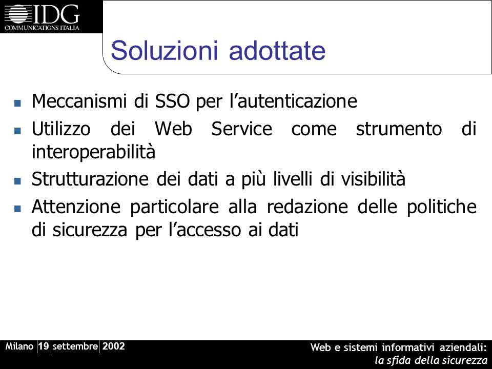Milano 19 settembre 2002 Web e sistemi informativi aziendali: la sfida della sicurezza Soluzioni adottate Meccanismi di SSO per lautenticazione Utiliz