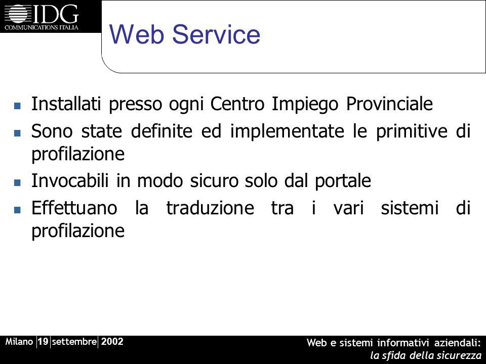 Milano 19 settembre 2002 Web e sistemi informativi aziendali: la sfida della sicurezza Web Service Installati presso ogni Centro Impiego Provinciale S