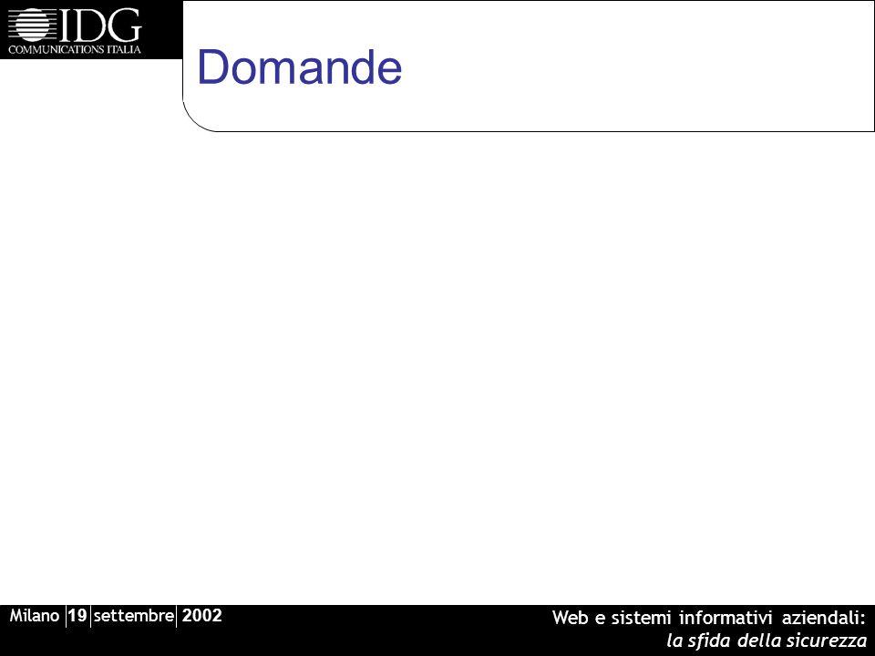 Milano 19 settembre 2002 Web e sistemi informativi aziendali: la sfida della sicurezza Domande