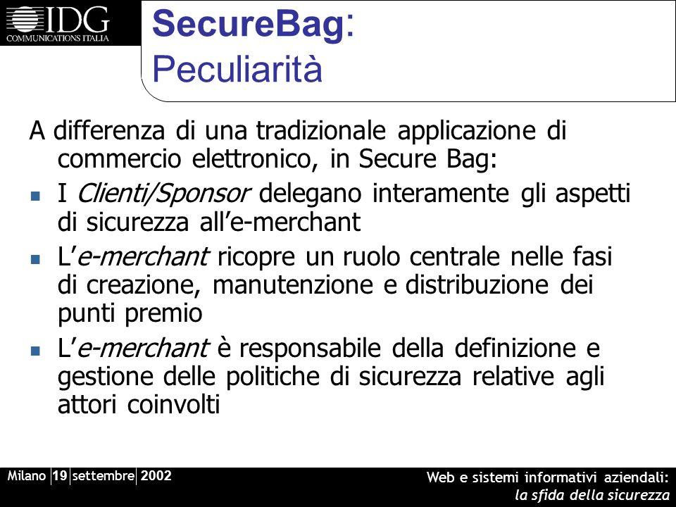 Milano 19 settembre 2002 Web e sistemi informativi aziendali: la sfida della sicurezza SecureBag : Peculiarità A differenza di una tradizionale applic