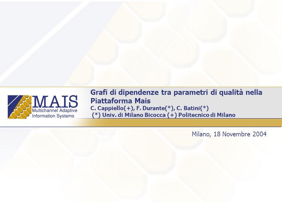 Grafi di dipendenze tra parametri di qualità nella Piattaforma Mais C.