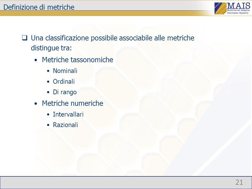 21 Definizione di metriche Una classificazione possibile associabile alle metriche distingue tra: Metriche tassonomiche Nominali Ordinali Di rango Metriche numeriche Intervallari Razionali